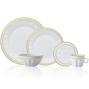 Aparelho de Jantar Germer Pingada 30 Peças Porcelana com Filete Dourado