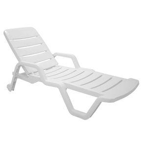 Cadeira Espreguiçadeira Tramontina Leblon com Rodas Branca
