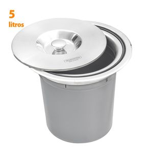 Lixeira de Embutir para Cozinha Tramontina Clean Round em Inox Polido 5 Litros