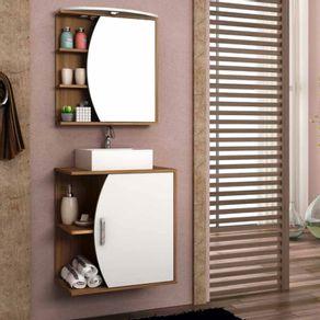 Conjunto Gabinete para Banheiro Bosi Duna 60cm Suspenso com Espelheira e Cuba Nogal e Branco