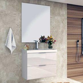 Conjunto Gabinete para Banheiro Bosi Pietra 80cm Suspenso com Espelheira e Cuba Branco Brilho