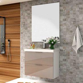 Conjunto Gabinete p/ Banheiro Bosi Pietra 80cm Suspenso c/ Espelheira e Cuba Branco/Gianduia Brilho