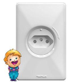 Conjunto de Tomada de Energia Tecplug Safeplug 2P+T 10A com Proteção Contra Choques Branco 250V