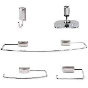 Kit de Acessórios para Banheiro Jackwal Inti 5 Peças em Metal Cromado