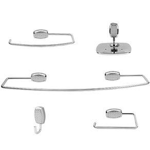Kit de Acessórios para Banheiro Jackwal Tikai 5 Peças em Metal Cromado